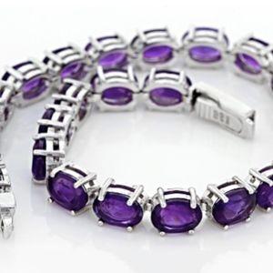African Amethyst SS Tennis Bracelet NWOT